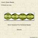 Fire Polished Beads, 4mm:Olivine [50]