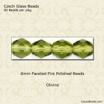 Fire Polished 6mm Faceted Round Beads:Olivine [50]