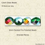 Fire Polished 6mm Faceted Round Beads:Marea Emerald [50]