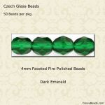 Fire Polished 4mm Faceted Round Beads:Dark Emerald [50]