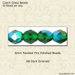 Fire Polished 6mm Faceted Round Beads:AB Dark Emerald [50]