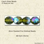 Fire Polished 8mm Faceted Round Beads:AB Dark Olive [25]