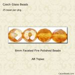 Fire Polished 8mm Faceted Round Beads:AB Topaz [25]