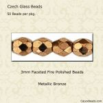 Fire Polished 3mm Faceted Round Beads:Bronze [50]