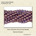 Czech Glass 6mm Round Druk Beads:Bronze Illusion [50]