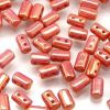 Czech Glass 3x5mm 2 Hole Rulla Beads:Luster Red [10g]