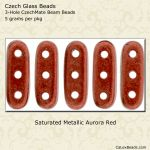 Beam Beads 3x10mm 3-Hole:Aurora Red, Saturated Metallic [5g]