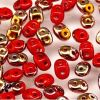 SuperDuo Beads, 2.5x5mm Coral Red Apollo Gold [10g]