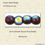 Druk Bead 3mm Garnet AB [100]