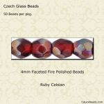 Fire Polished 4mm Faceted Round Beads:Celsian Ruby [50]
