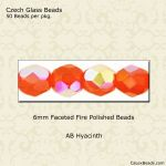 Fire Polished 6mm Faceted Round Beads:AB Hyacinth [50]