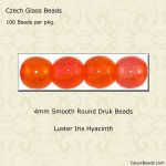 Czech Glass 4mm Round Druk Beads:Luster Iris Hyacinth [100]
