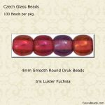 Czech Glass 4mm Round Druk Beads:Luster Iris Fuchsia [100]