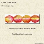 Fire Polished 6mm Faceted Round Beads:Fuchsia/Lemon [25]