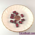 8x12mm Table Cut Rectangle Beads:Oxblood Picasso [ea]