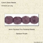 Fire Polished Beads, 4mm:Purple, Opaque [50]