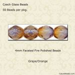 Fire Polished 4mm Faceted Round Beads:Grape/Orange [50]