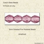 Fire Polished 3mm Faceted Round Beads:Amethyst [50]