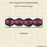 Fire Polished 4mm Faceted Round Beads:Amethyst [50]