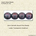 Czech Glass 6mm Round Druk Beads:Luster Amethyst [50]