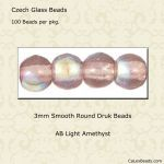 Druk Bead 3mm Light Amethyst AB [100]