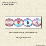 Fire Polished 6mm Faceted Round Beads:AB Light Amethyst [50]