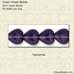 Czech Glass 6mm Heart Beads:Tanzanite [50]