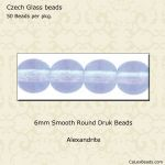 Czech Glass 6mm Round Druk Beads:Alexandrite [50]