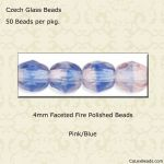 Fire Polished 4mm Faceted Round Beads:Light Pink/Blue [50]