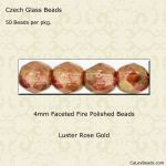 Fire Polished Beads, 4mm:Rose Gold, Luster [50]