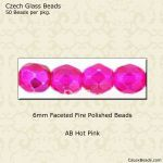 Fire Polished 6mm Faceted Round Beads:AB Electric Pink [50]