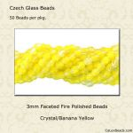 Fire Polished 3mm Faceted Round Beads:Banana Yellow [50]