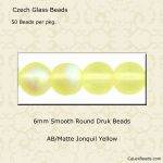 Czech Glass 6mm Round Druk Beads:AB/Matte Jonquil [50]