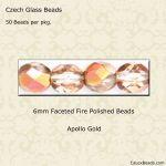 Fire Polished 6mm Faceted Round Beads:Apollo Gold [50]