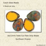 Table Cut 12x16mm Polished Drops:Sunflower Picasso [ea]