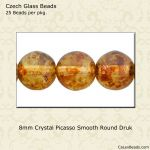Druk Beads, 8mm:Crystal Picasso [25]