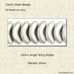 Angel Wing Beads, 10mm:Silver [50]