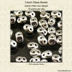 Czech Glass 2x4mm Mini Super Duo Beads:Crystal Full Labrador [10g]