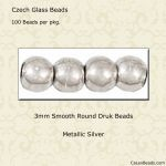 Druk Bead 3mm Silver [100]