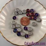 Czech Glass 8x3mm Dime Beads:Silver/Purple [25]
