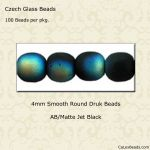 Czech Glass 4mm Round Druk Beads:AB/Matte Jet [100]