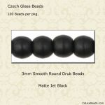 Druk Bead 3mm Jet Matte [100]