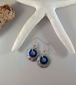 Earrings:Blue Donut Dangles