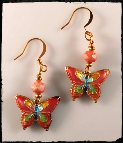 1eb5746e9f1 Calex Beads and Jewelry  Butterfly earrings in pink with gold plated ...