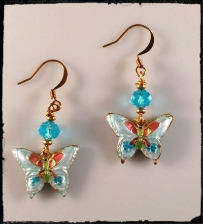 4f5be33523b Calex Beads and Jewelry  Butterfly earrings in aqua with gold plated ...