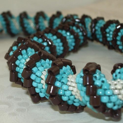 Necklace:Turquoise/Chocolate Cellini Spiral