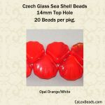 Czech Glass 14mm Sea Shell Beads:Opal Orange [20]