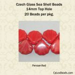 Czech Glass 14mm Sea Shell Beads:Persian Red [20]