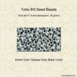 Toho 8/0:0820 Opaque Grey, Jet Lined [25g]
