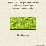 Toho 11/0 Triangle Seed Beads:Silver Lined Lime Green [17g]